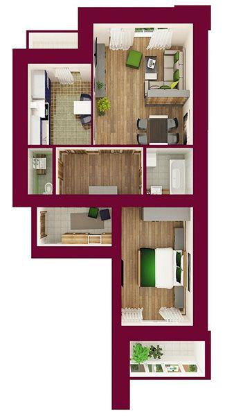 ЖК Forest Land: планировка 2-комнатной квартиры 69.56 м2, тип Шефилд
