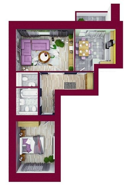 ЖК Forest Land: планировка 2-комнатной квартиры 58.83 м2, тип Кенсингтон*