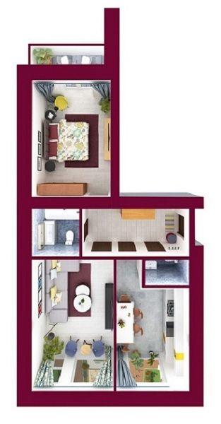 ЖК Forest Land: планировка 2-комнатной квартиры 65.35 м2, тип Челси
