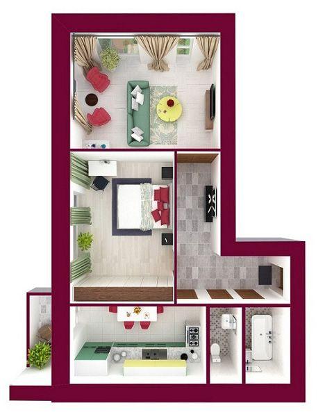 ЖК Forest Land: планировка 2-комнатной квартиры 71.58 м2, тип Бейкер_1