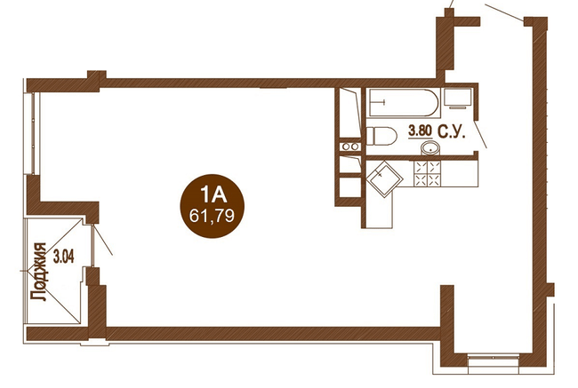 ЖК Лайтхаус: планировка 1-комнатной квартиры 61.79 м2, тип 1A