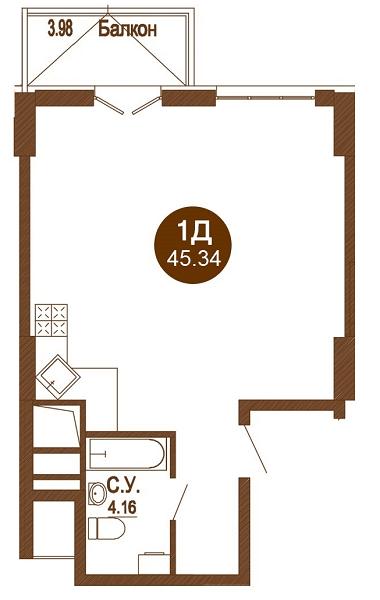 ЖК Лайтхаус: планировка 1-комнатной квартиры 45.34 м2, тип 1Д