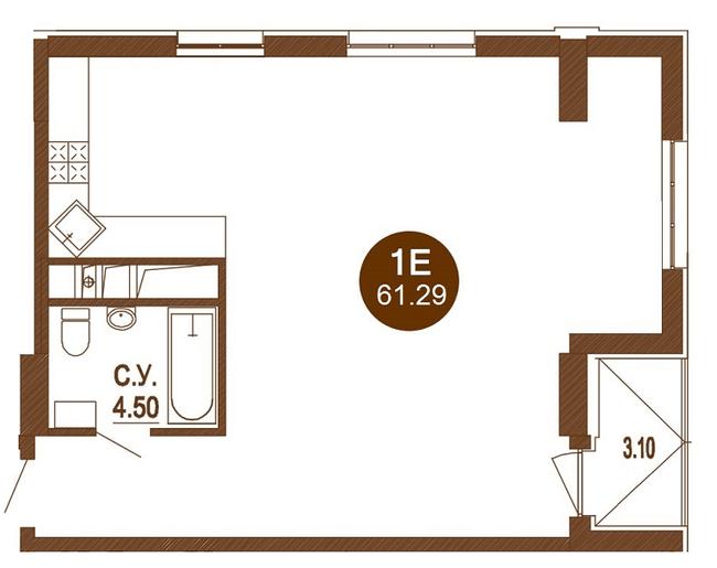ЖК Лайтхаус: планировка 1-комнатной квартиры 61.29 м2, тип 1Е