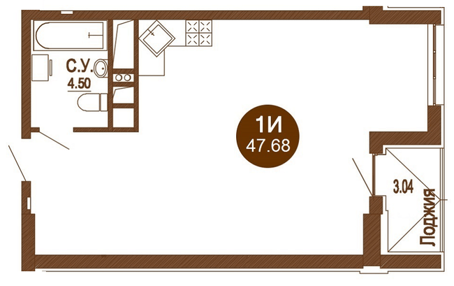 ЖК Лайтхаус: планировка 1-комнатной квартиры 47.68 м2, тип 1И