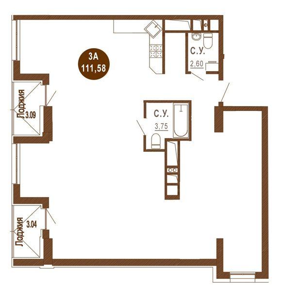 ЖК Лайтхаус: планировка 1-комнатной квартиры 111.58 м2, тип 3A