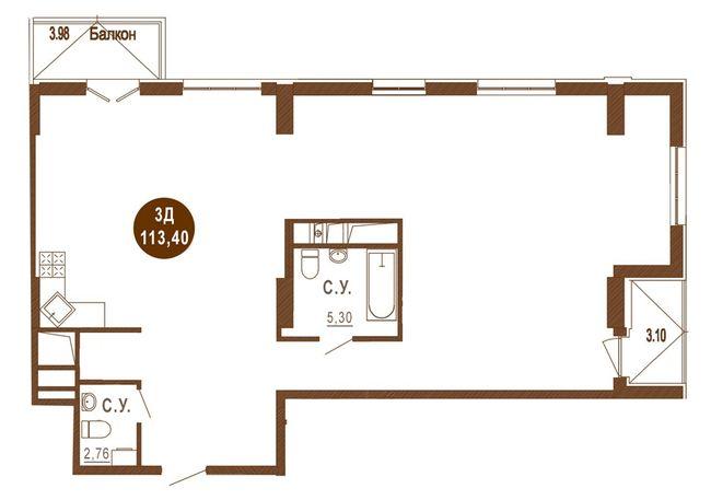 ЖК Лайтхаус: планировка 1-комнатной квартиры 113.4 м2, тип 3Д