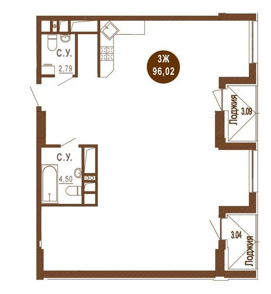 ЖК Лайтхаус: планировка 1-комнатной квартиры 96.02 м2, тип 3Ж
