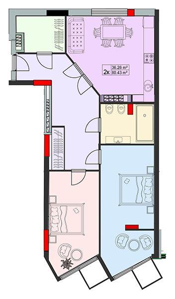 ЖК Старе Місто: планування 2-кімнатної квартири 80.43 м2, тип 2-80.43