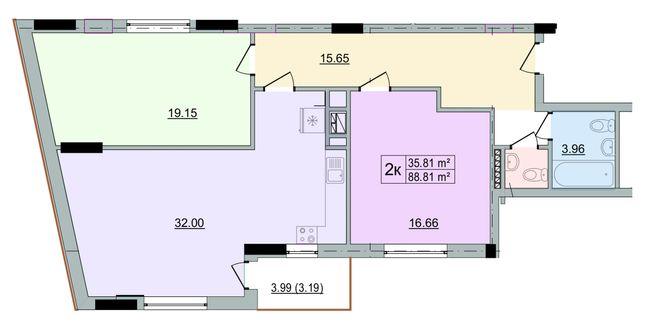 ЖК Старе Місто: планування 2-кімнатної квартири 88.81 м2, тип 2-88.81