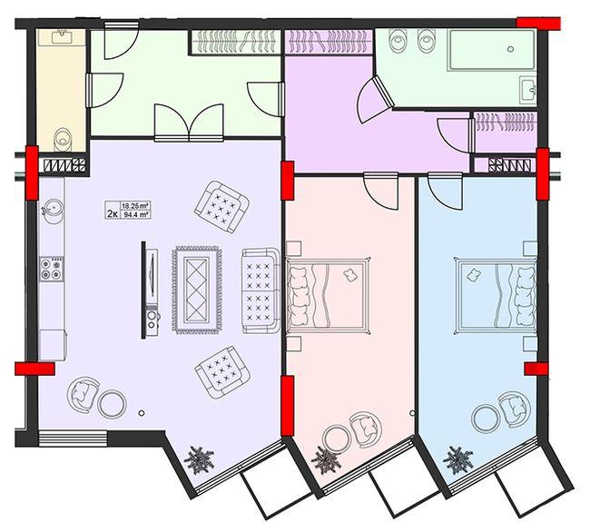 ЖК Старе Місто: планування 2-кімнатної квартири 94.4 м2, тип 2-94.4