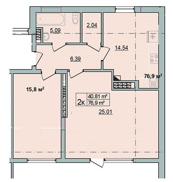 ЖК Старе Місто: планування 2-кімнатної квартири 76.9 м2, тип 2-76.9