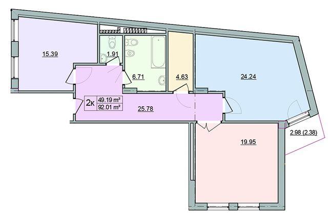 ЖК Старе Місто: планування 2-кімнатної квартири 92.01 м2, тип 2-92.01