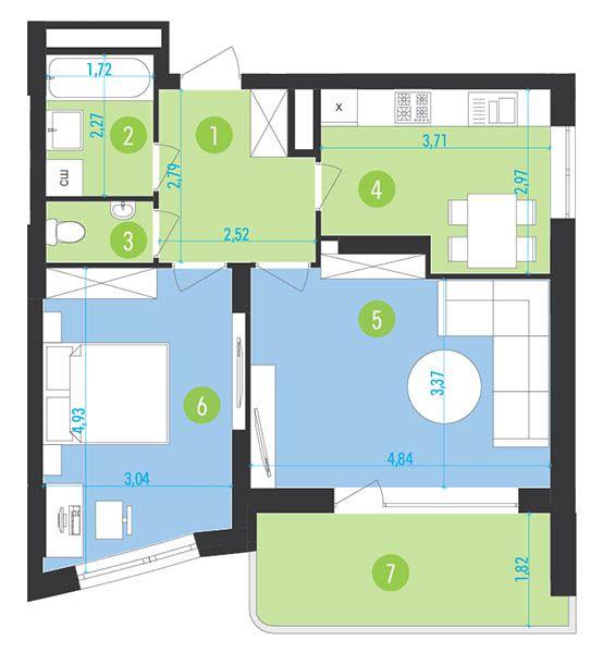 ЖК Парус Park: планування 2-кімнатної квартири 62.3 м2, тип 1-62.3