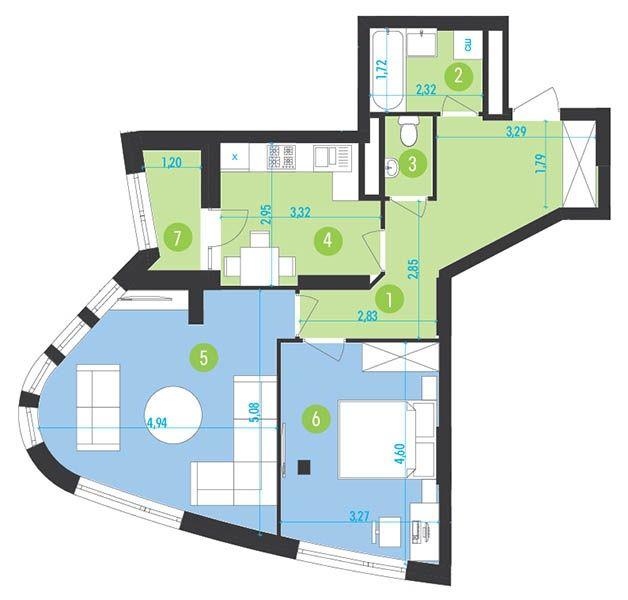 ЖК Парус Park: планування 2-кімнатної квартири 63.3 м2, тип 2-63.3