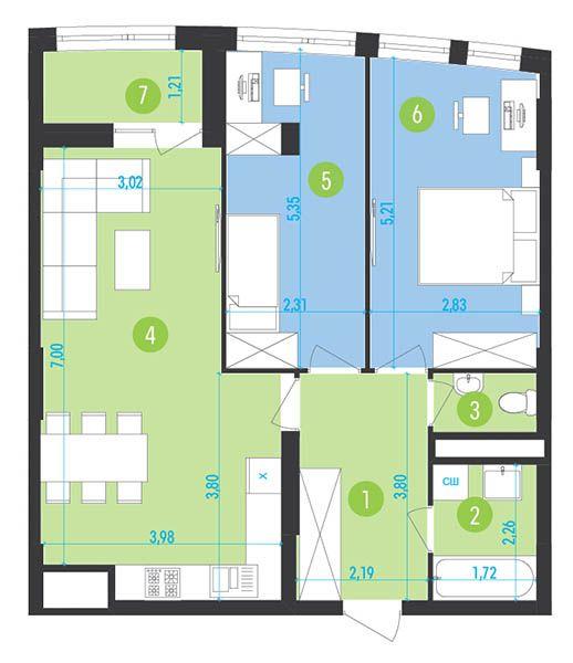 ЖК Парус Park: планування 2-кімнатної квартири 69.2 м2, тип 2-69.2
