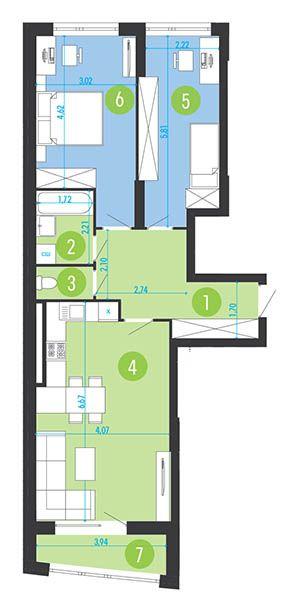 ЖК Парус Park: планування 2-кімнатної квартири 74.2 м2, тип 2-74.2