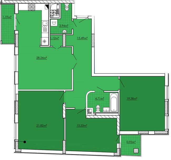 ЖК Kvartal Praud: планування 3-кімнатної квартири 112.17 м2, тип 3-112.17