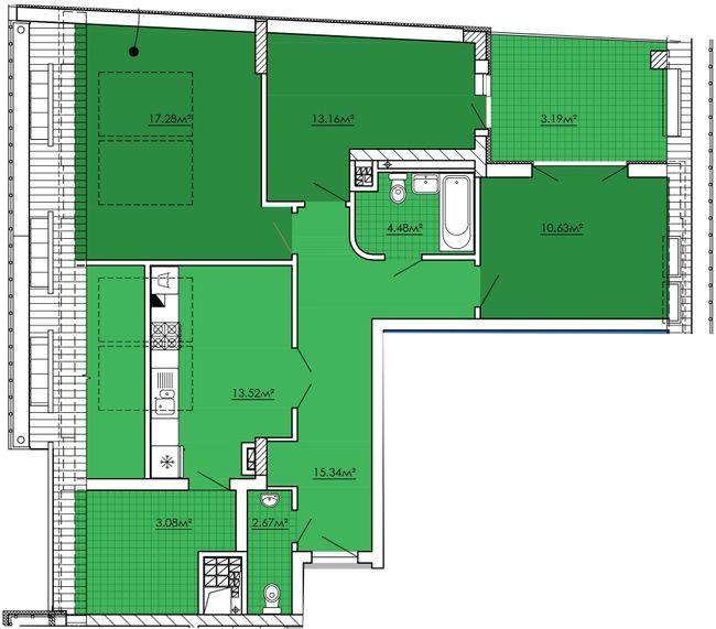 ЖК Kvartal Praud: планировка 3-комнатной квартиры 83.34 м2, тип 3-83.34