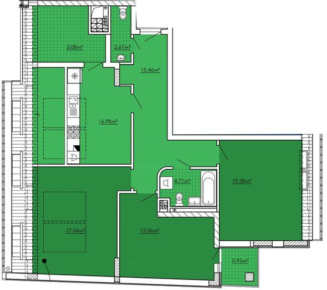 ЖК Kvartal Praud: планування 3-кімнатної квартири 95.82 м2, тип 3-95.82