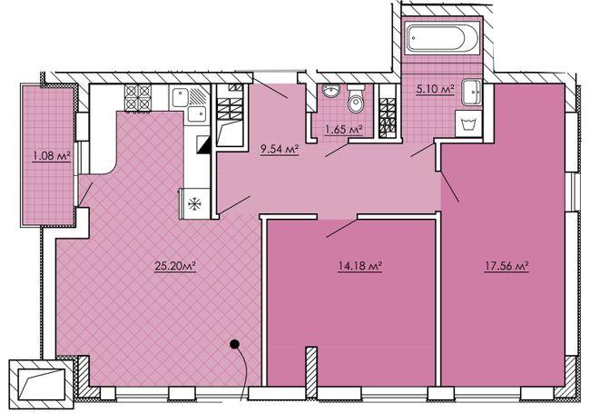 ЖК Kvartal Praud: планування 2-кімнатної квартири 74.3 м2, тип 2-74.3