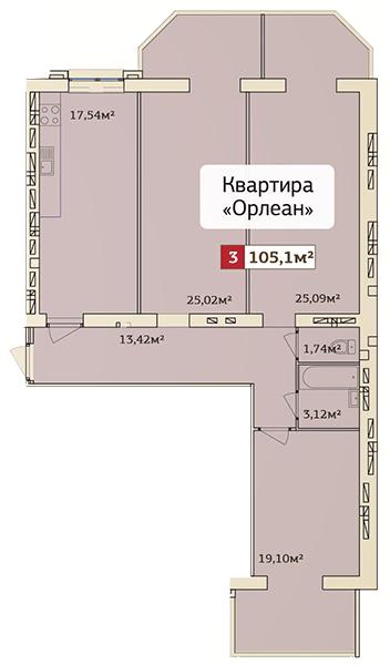 ЖК Галицкий Лев: планировка 3-комнатной квартиры 105.1 м2, тип (7)3-105.1