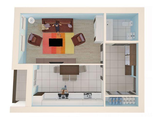 ЖК Monaco: планировка 1-комнатной квартиры 44.4 м2, тип 1-44.4
