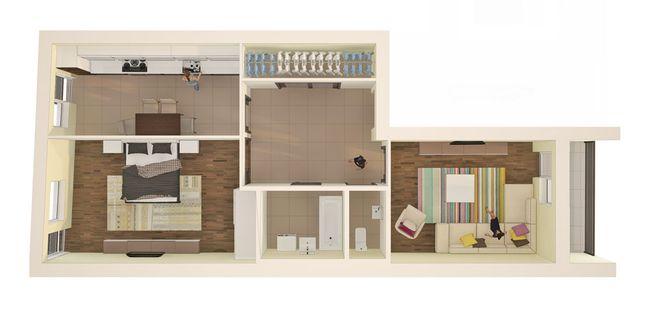 ЖК Monaco: планировка 2-комнатной квартиры 76.1 м2, тип 2-76.1