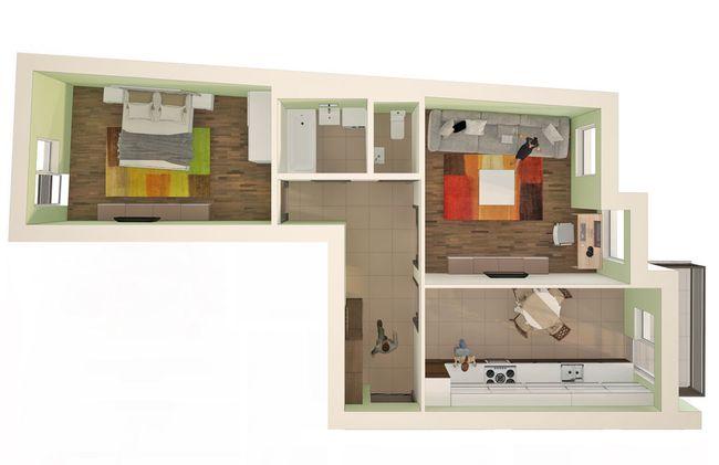 ЖК Monaco: планировка 2-комнатной квартиры 65.4 м2, тип 2-65.4
