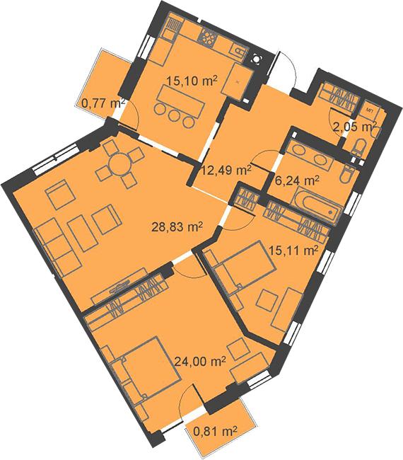 ЖК Бейкер Стріт. Шерлок Холмс: планування 3-кімнатної квартири 105.4 м2, тип 3-105.4
