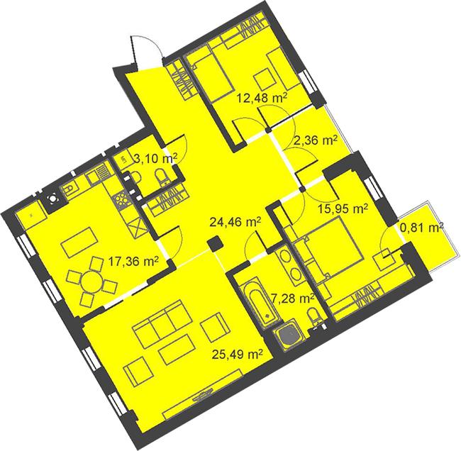 ЖК Бейкер Стрит. Шерлок Холмс: планировка 3-комнатной квартиры 109.29 м2, тип 3-109.29