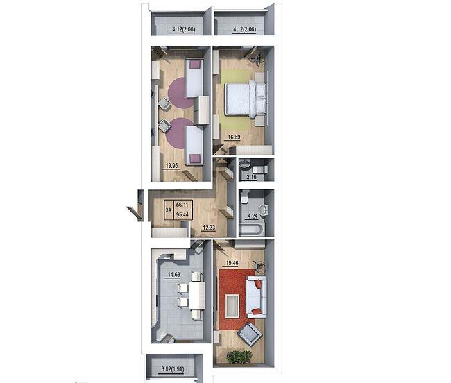 ЖК Галиция: планировка 3-комнатной квартиры 95.44 м2, тип 3А