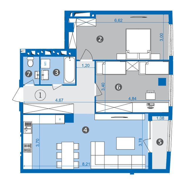 ЖК Парус: планировка 2-комнатной квартиры 84.2 м2, тип 2-16