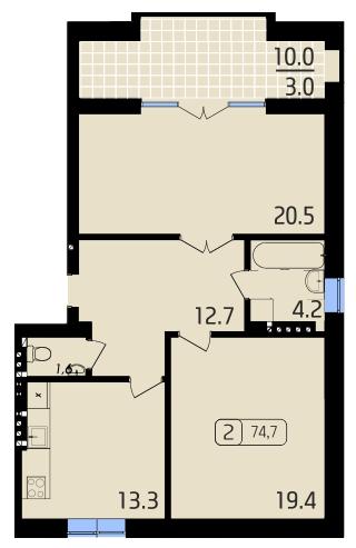 ЖК Паркове: планування 2-кімнатної квартири 74.7 м2, тип 2-74.7