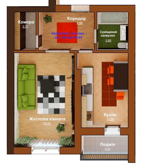 ЖД Чемпион: планировка 1-комнатной квартиры 46.06 м2, тип 1-46.06