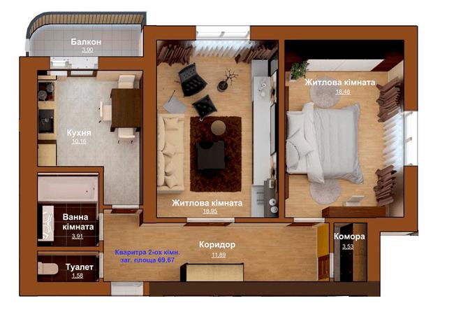 ЖБ Чемпіон: планування 2-кімнатної квартири 69.67 м2, тип 2-69.67