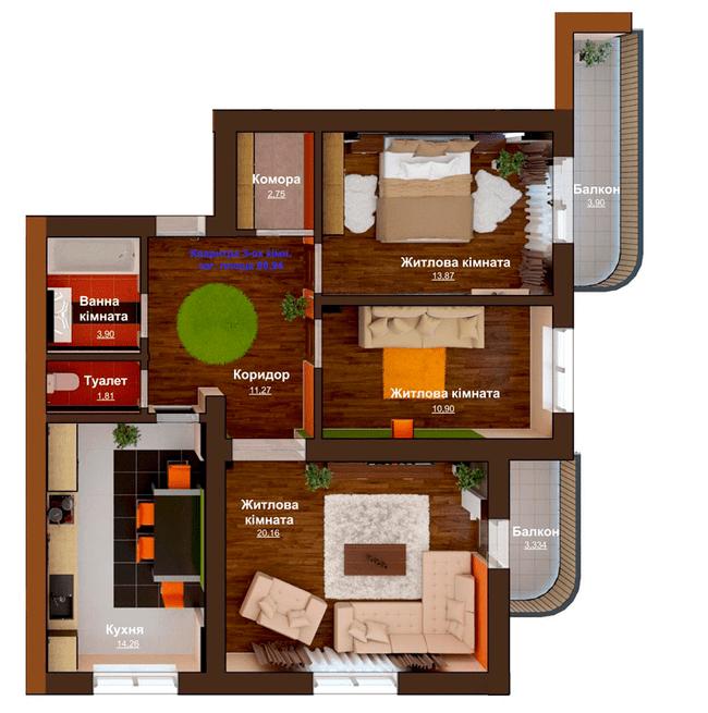 ЖБ Чемпіон: планування 3-кімнатної квартири 88.94 м2, тип 3-88.94