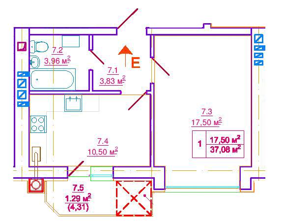 ул. Ерошенко, 14: планировка 1-комнатной квартиры 37.08 м2, тип 1-37.08