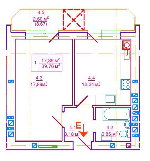 вул. Єрошенка, 14: планування 1-кімнатної квартири 39.76 м2, тип 1-39.76