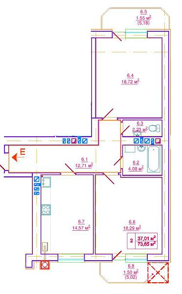 вул. Єрошенка, 14: планування 2-кімнатної квартири 73.65 м2, тип 2-73.65