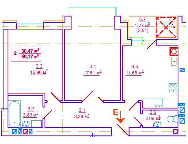 вул. Єрошенка, 14: планування 2-кімнатної квартири 58.17 м2, тип 2-58.17