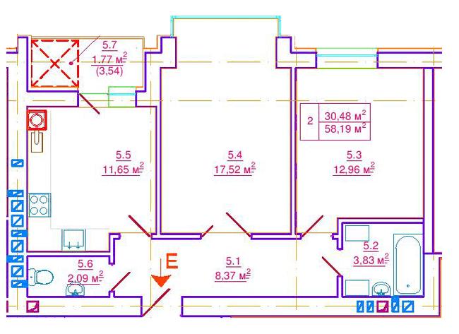 вул. Єрошенка, 14: планування 2-кімнатної квартири 58.19 м2, тип 2-58.19