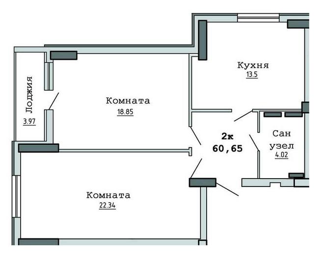 ЖК Суворівський 2: планування 2-кімнатної квартири 60.65 м2, тип 2-60.65