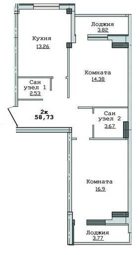 ЖК Суворівський 2: планування 2-кімнатної квартири 58.73 м2, тип 2-58.73