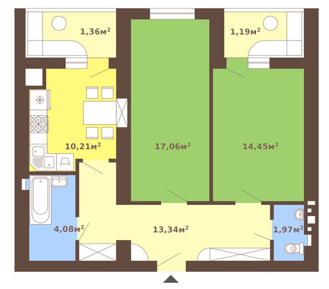 ул. Сухомлинского, 14: планировка 2-комнатной квартиры 65.22 м2, тип 2-65.22