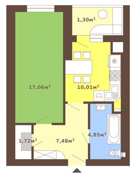 вул. Сухомлинського, 14: планування 1-кімнатної квартири 42.38 м2, тип 1-42.38