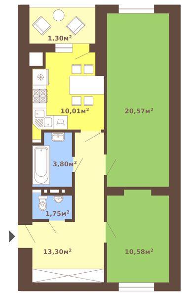 ул. Сухомлинского, 14: планировка 2-комнатной квартиры 61.31 м2, тип 2-61.31