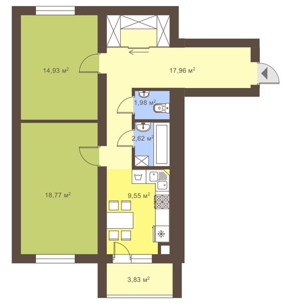 ул. Сухомлинского, 14: планировка 2-комнатной квартиры 67.73 м2, тип 2-67.73