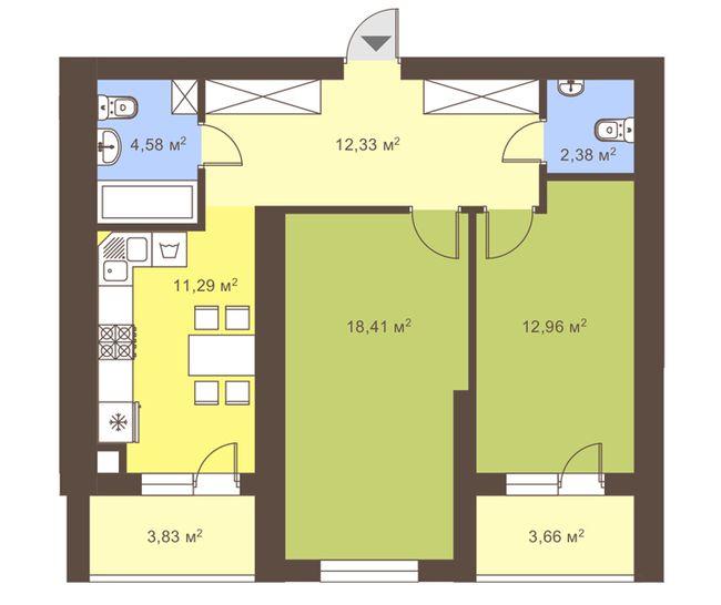 ул. Сухомлинского, 14: планировка 2-комнатной квартиры 65.5 м2, тип 2-65.5