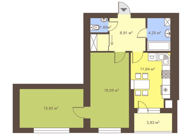 ул. Сухомлинского, 14: планировка 2-комнатной квартиры 62.28 м2, тип 2-62.28