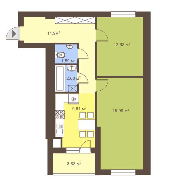 ул. Сухомлинского, 14: планировка 2-комнатной квартиры 59.61 м2, тип 2-59.61
